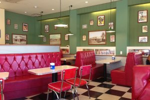 1950s-style decor along with Americana decorations and photographs of Blue Seal's history