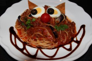 The Cheshire Cat is the inspiration for this pasta dish.