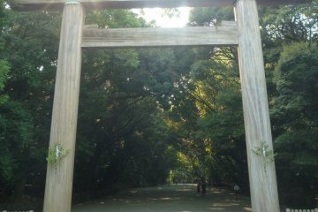 Wooden Torii gate entrance to Atsuta Shrine.