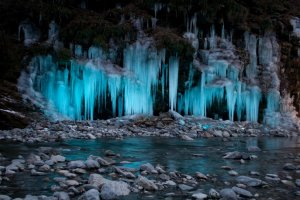 Icicles with blue light