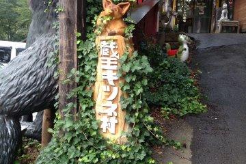 La entrada a la villa de zorros.