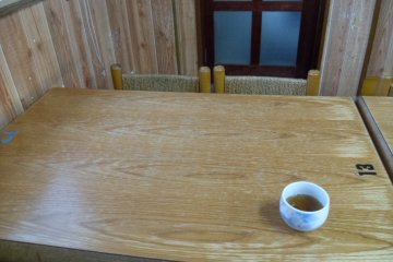 <p>Those chairs are quite small, but the green tea is nice!</p>