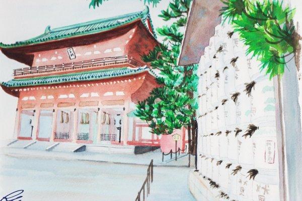 ประตูสวรรค์ หรือ โอเท็มมง สร้างเลียนแบบประตูทางเข้าวังหลวงสมัยที่เมืองเกียวโตเป็นเมืองหลวงของประเทศญี่ปุ่น