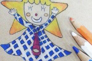 ภาพวาด Sorakara-chan มาสคอตของหอคอยแห่งนี้ที่วาดโดยฉันเอง รอยยิ้มของเธอทำฉันยิ้มทุกครั้งที่มอง