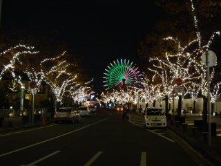 조명을 크리스마스 시간으로 착각하지 마십시오. 이 조명은 모자이크 쇼핑몰로 가는 도로에서 일년 내내 열리는 행사다