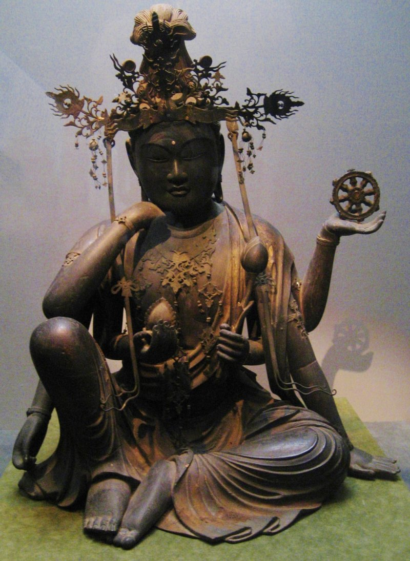 Seated Nyoirinkanan Bosatsu (Cakravarti-cintamani). Wood, gold leaf, crystal, 13th century