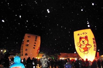 <p>The balloon may not be cat shaped, but the Hokkaido cat lights a smile amongst party goers at the Paper Balloon festival</p>