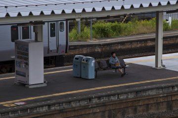 <p>Waiting for the train</p>