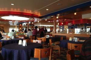 The main buffet restaurant on the ferry.
