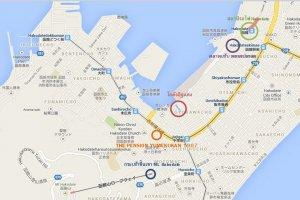 แผนที่สำหรับการเดินทางมาที่พัก The Pension Yumekukan และสถานที่ท่องเที่ยวโดยรอบ