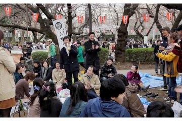 <p>Japanese Friends Celebrating&nbsp;Hanami in Ueno Park, Tokyo, Japan</p>