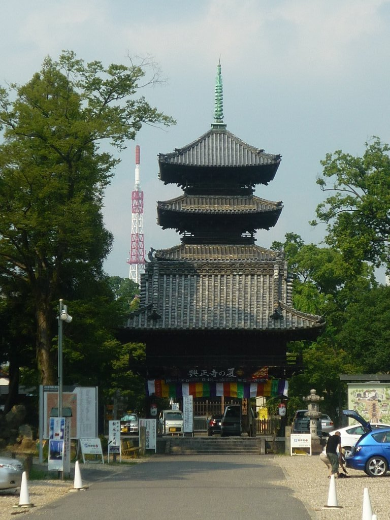 Koshoji Temple's main gate and pagoda, mismatched with a TV broadcast tower.