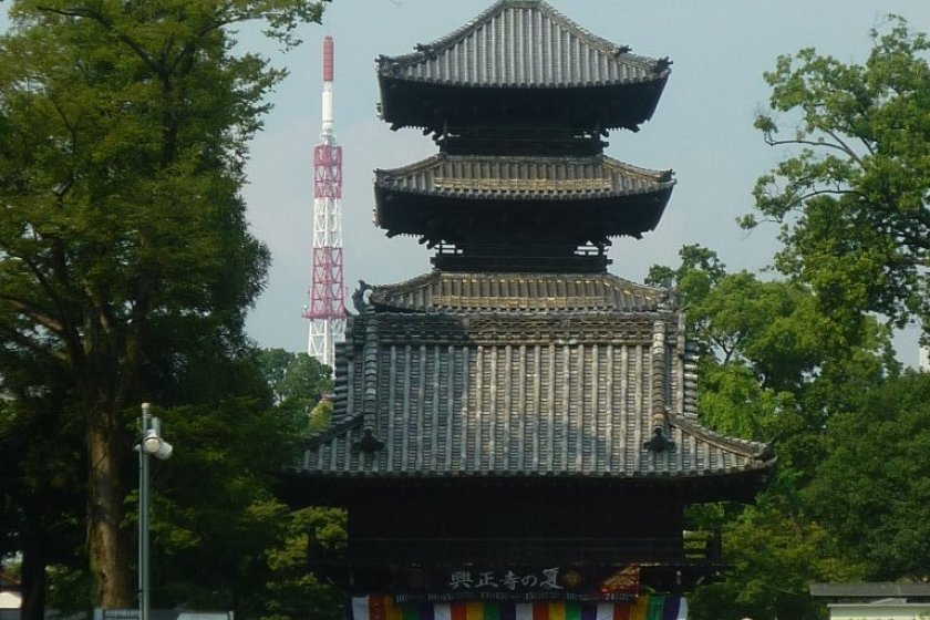 Koshoji Temple\'s main gate and pagoda, mismatched with a TV broadcast tower.