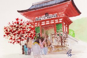 ประตูนิโอะวัดคิโยมิสุ ดอกบ๊วยแดง (ที่กำลังบาน) และดอกบ๊วยขาว (ที่ร่วงไปแล้ว) ที่สองข้างประตู
