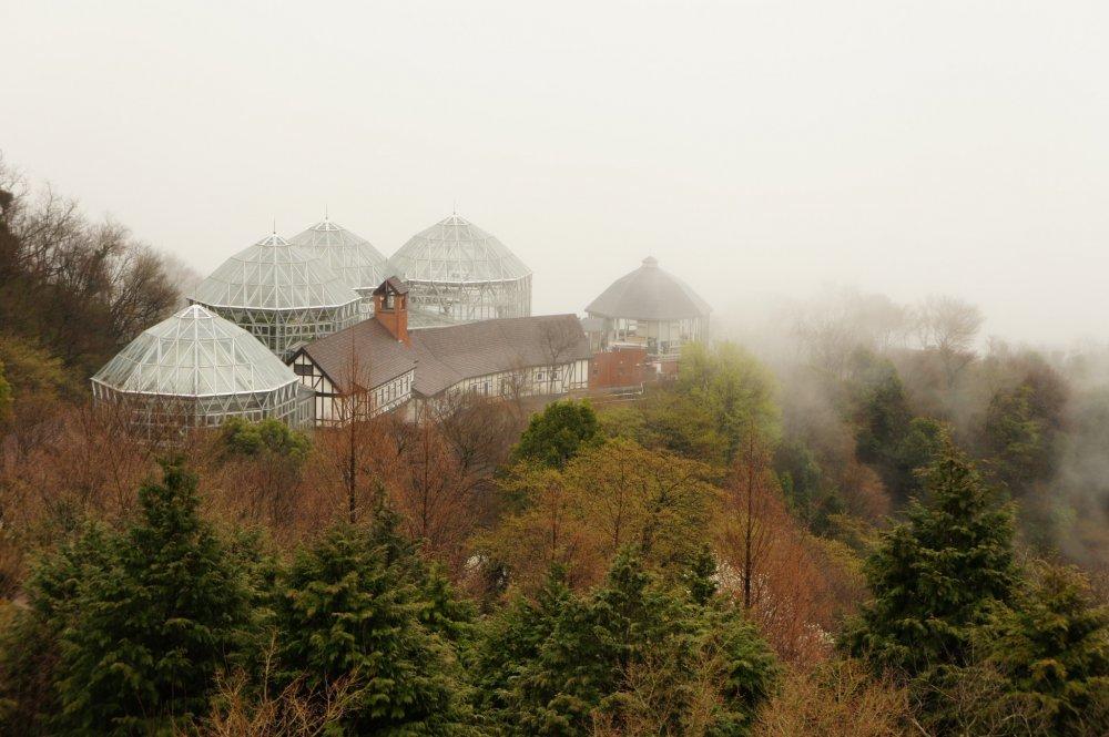Оранжерея в туманное утро на холмах Кобэ. Прогулочные тропы к оранжерее начинаются со станции канатной дороги.
