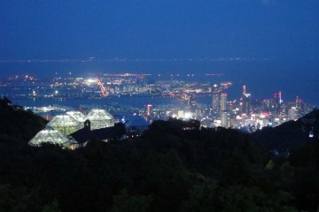 <p>Night-time view of the glasshouse and the port city of Kobe below, glowing in the &quot;million dollar view&quot; of Kobe.</p>