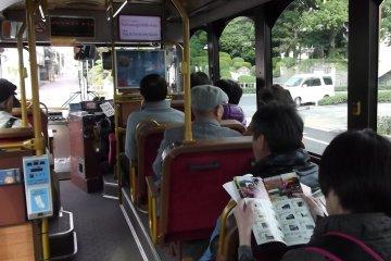 <p>Inside the Shiroyama-Ito Bus</p>
