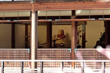 <p>Statue of Yoshimitsu on the first floor of Kinkaku</p>