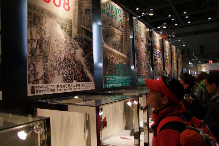 Admiring the history of the Tokyo Marathon