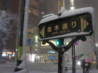 GAP前の銀座並木通りの標識。GAPはこの日豪雪のため、異例の18時に閉店した