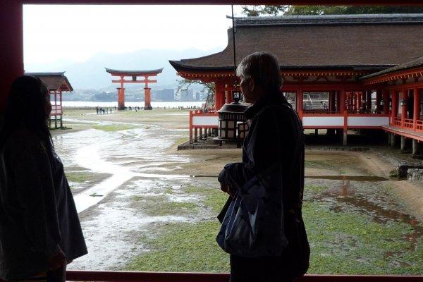 ประตู torii แดงกลางทะเล (ถ้าน้ำขึ้น) ที่ติดตาติดใจเมื่อมองจากศาลเจ้า Itsukushima