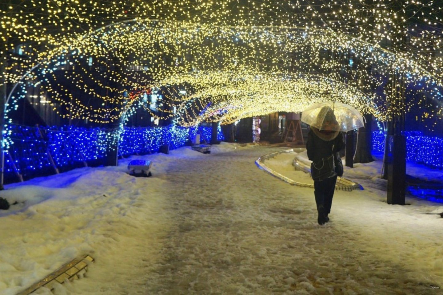 Kawabata Street is a 15 minute stroll from Akita railway station, which is transformed into a winter wonderland.