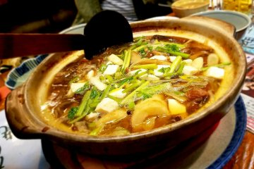 Hot pots are a family special during winter at Kawabata Street