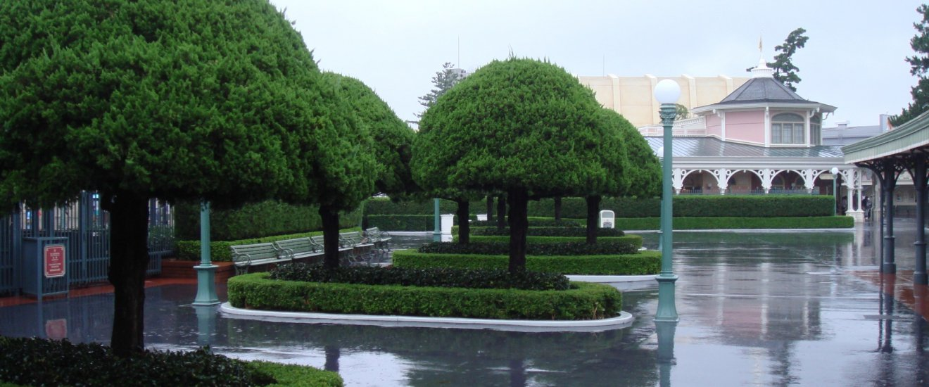 สายฝนในดิสนี่ย์แลนด์ยามเช้า