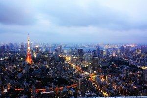 แสงสีของหอคอยโตเกียว (Tokyo Tower) และตึกรามบ้านช่องโดยรอบในยามพลบค่ำนั้นเป็นวิวอันแสนโรแมนติกที่ถือเป็นภาพถ่ายยอดนิยมอันเป็นสัญลักษณ์ของโตเกียวภาพหนึ่งเลยทีเดียว ซึ่งแสงไฟที่ระยิบระยับในยามค่ำคืนนั้นเป็นสัญลักษณ์ที่สะท้อนสีสันและชีวิตชีวายามค่ำคืนของเมืองนี้ได้เป็นอย่างดีที่สุด สมกับเป็นเมืองที่ไม่เคยหลับไหลที่มีเสน่ห์มากที่สุดของโลกเลยทีเดียว