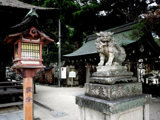 Stone lions stand guard in the shrine