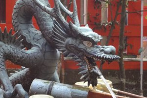 As I mentioned above, a dragon is the protector of the shrine. You will see his form adorning several places around the grounds, including the purification basin, the hanging scroll of the main hall, and more.
