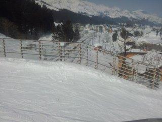 Skiing across the train tracks