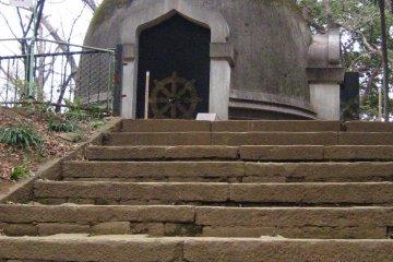 Buddhist stupa atop a small hill
