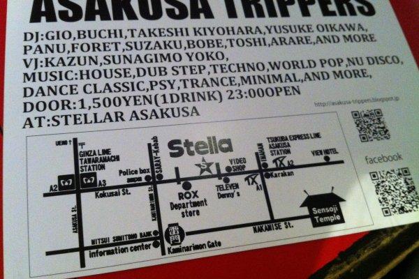 ASAKUSA TRIPPERS ปาร์ตี้นี้มีจัดทุกเดือนที่ร้าน STELLA Asakusa ค่ะ พี่เจ้าของร้านเป็นลูกครึ่งไทย-ญี่ปุ่น ใจดีมากๆ