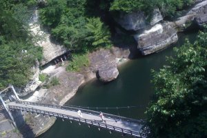 The rather springy ropeway bridge over the river