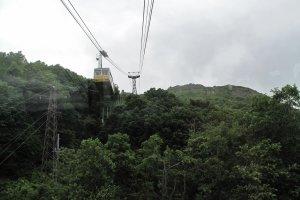 รถกระเช้าไฟฟ้าไต่ความสูงขึ้นไปยังสถานีซัมมิทที่อยู่บนยอดเขา