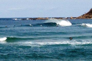 Surfing at Hattyohama Beach in Kyoto Prefecture