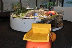 工作機械のおもちゃ(乗り物)やジオラマの展示物