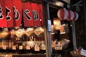 This shop sells 'sembei'--Japanese rice crackers.