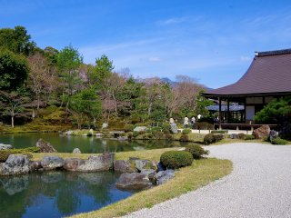 White sand and large pond garden in spring (see Photo 1 of autumn article)