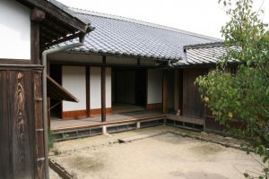 The rear courtyard of the samurai tenement home.