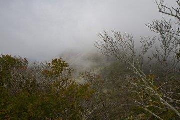 <p>Mt. Karakuni&nbsp;rises up into the clouds</p>