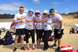 "A ""before"" shot of our team sporting The Color Run white t-shirt included in the registration fee"