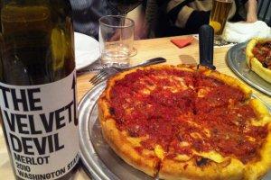 'The Velvet Devil' merlot with 'The Big Cheese' pizza