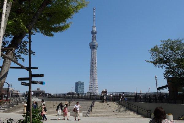 สวนสาธารณะสุมิดะที่อะซะกุซะ อยู่ตรงกันข้ามริมฝั่งแม่น้ำกับ Tokyo Skytree