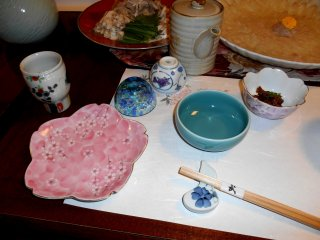 Spring colored pretty plates and sake cups
