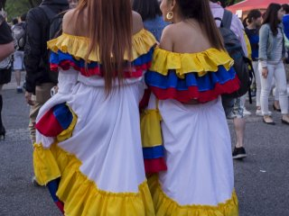 Festival promoters donning traditional costumes.