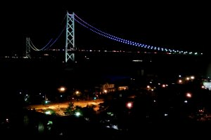 Beautiful night view of Great Akashi Strait Bridge seen from our hotel room window
