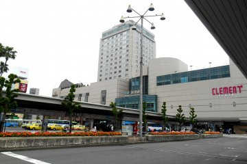 <p>JR Tokushima Station seen from one of the bus stops</p>