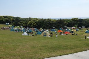 The campsite can get busy during the summer months.